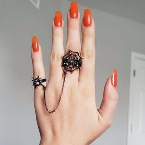 Avon chain black rhinestone spider Halloween ring